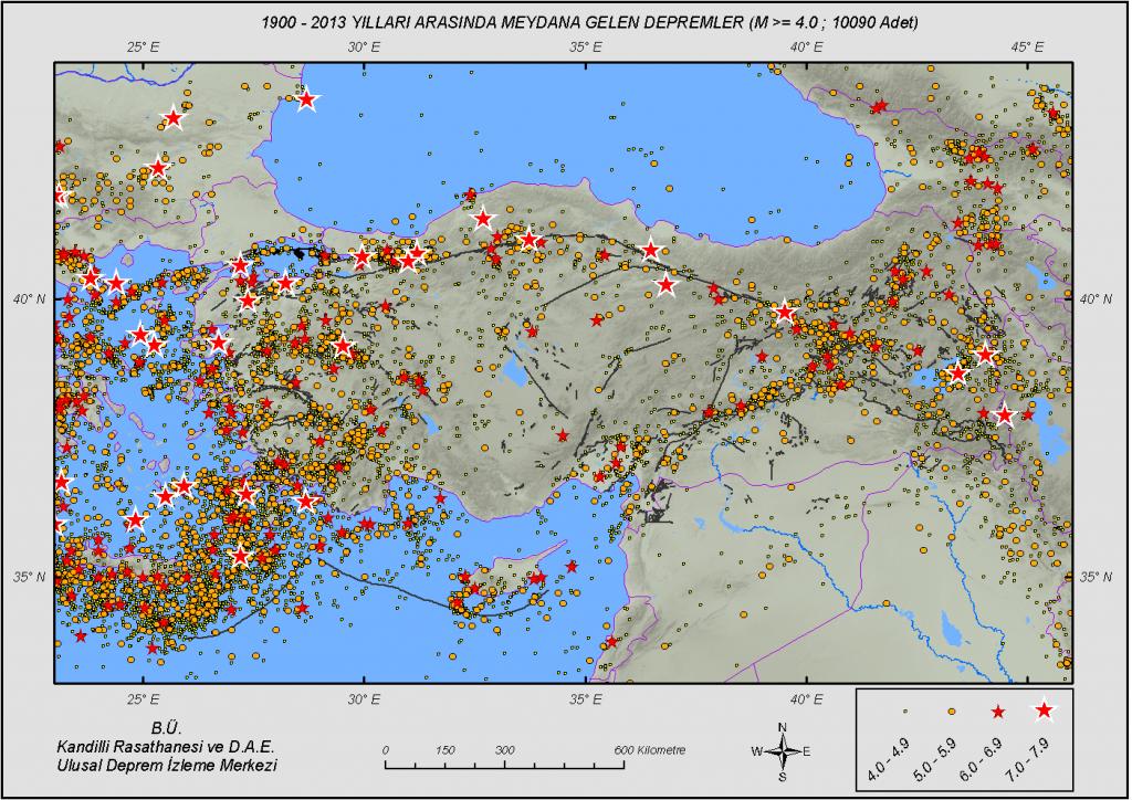 1900 - 2013 Yılları Arası, Türkiye ve Çevresi Sismik Aktivite (M ≥ 4.0 : 10090 Deprem)