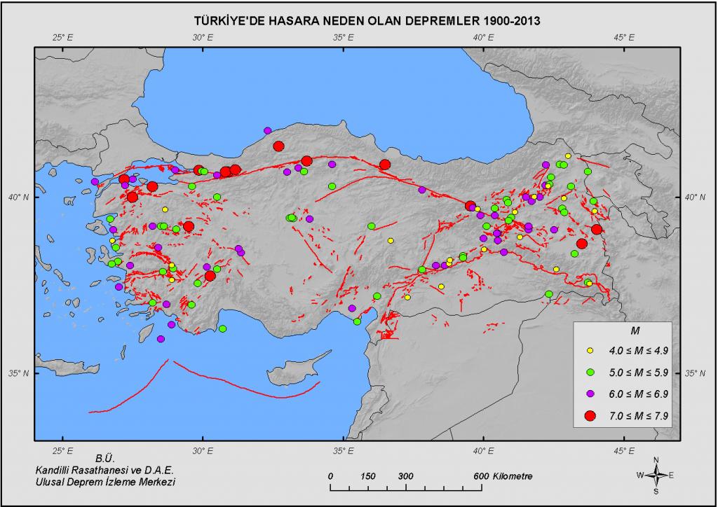 1900 - 2012 Yılları Arası, Türkiye ve Çevresi Yıkıcı Depremler