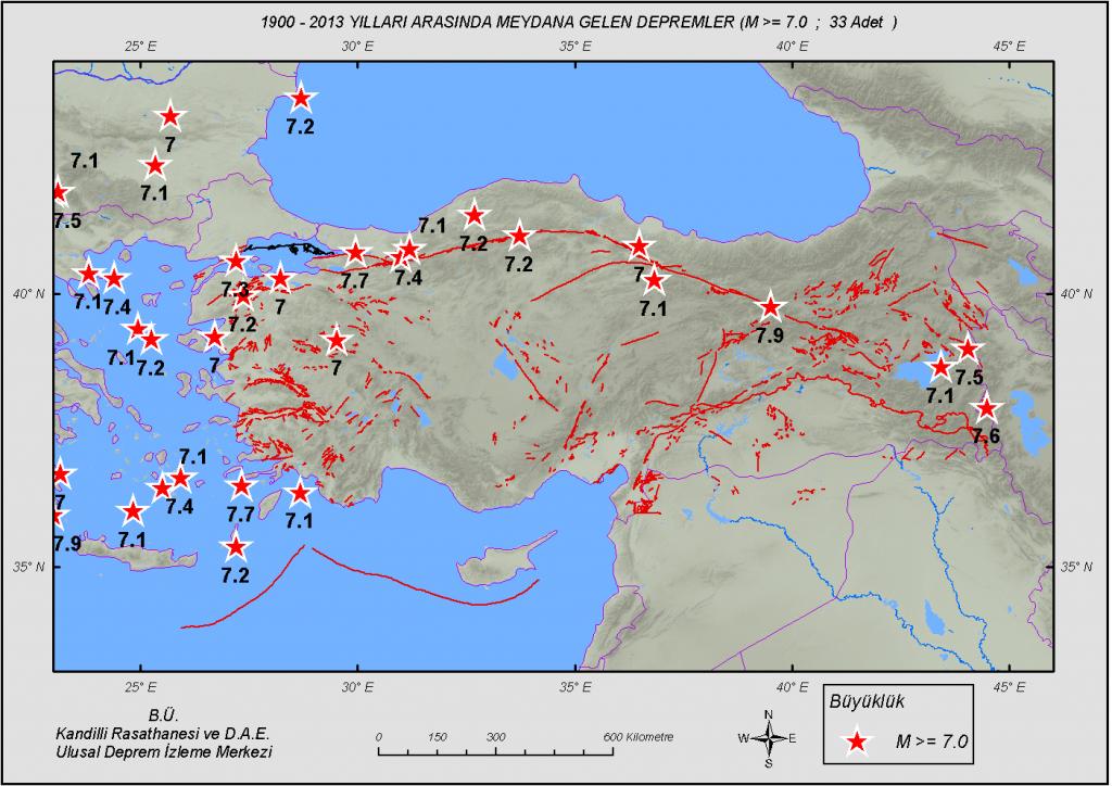 1900 - 2013 Yılları Arası, Türkiye ve Çevresi Önemli Depremler (M ≥ 7.0 : 33 Deprem : Büyüklük)